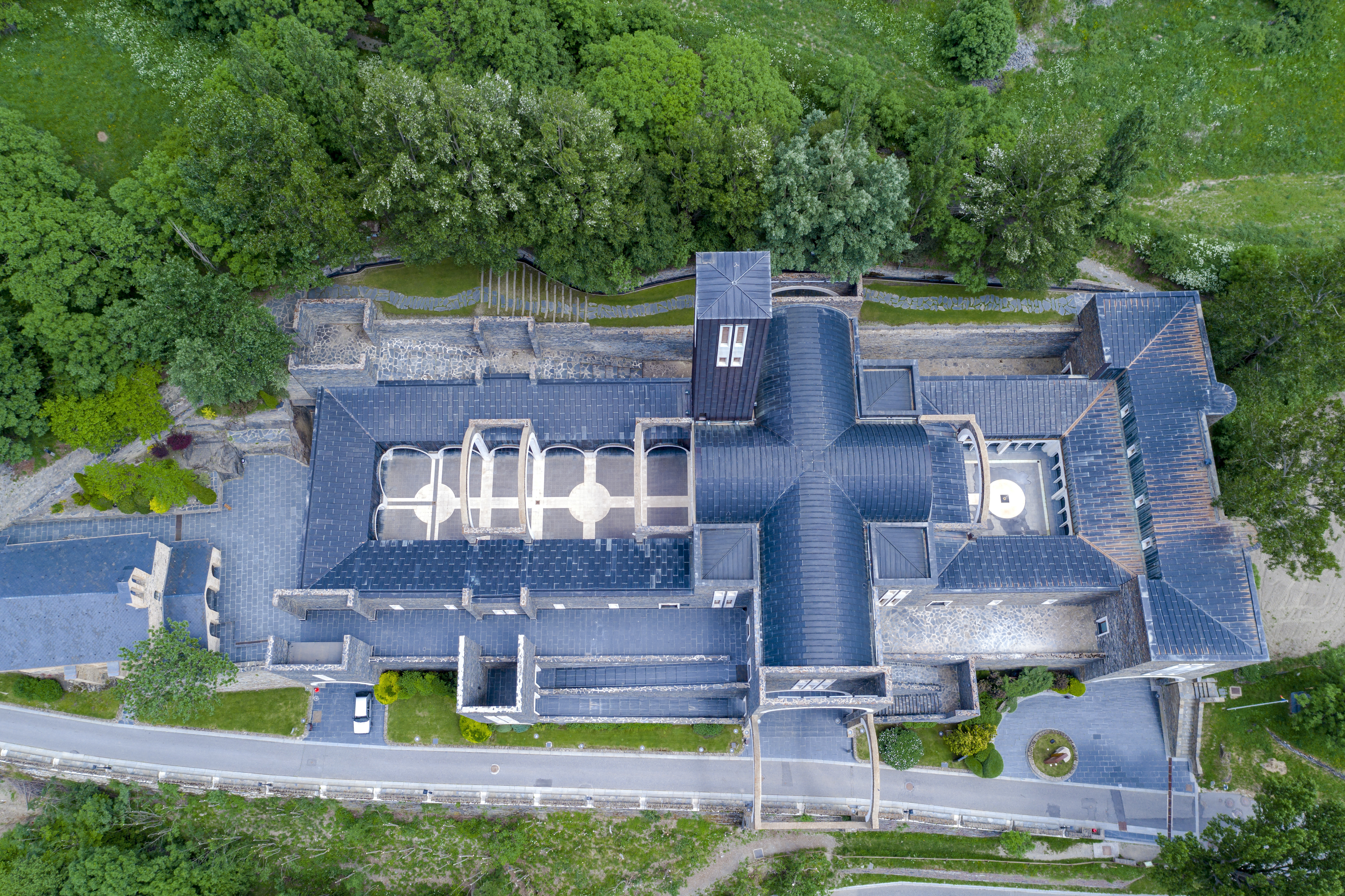 Sanctuary of Our Lady of Meritxell is a basilica located in the town of Meritxell, in the Andorran parish of Canillo, Aerial view overhead